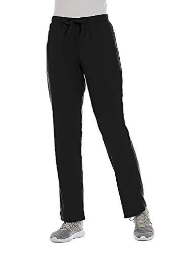 ELEMENTS BY ALEXANDERS UNIFORMS Women's EL9305 Half Elastic Waistband Four Way Stretch Scrub Pant (Black, Large Petite)