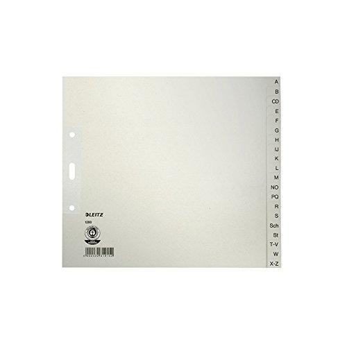 Leitz Register, 20 Trennblätter, Taben mit alphabetischem Aufdruck A-Z, 5 Stück, Grau, 100% recyceltes Papier, Blauer Engel Siegel, 12003085