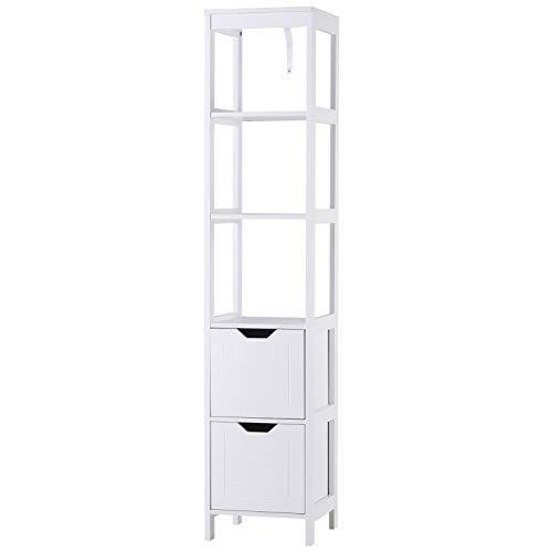 kleankin Badezimmerregal, Badeschrank, Küchenschrank mit Schubladen, offene Regale, MDF-Platte, 30 x 30 x 144 cm, Weiß