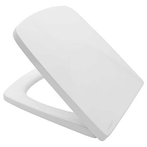 LUVETT® PREMIUM WC-SITZ Q300 eckig mit Absenkautomatik SoftClose® & TakeOff® EasyClean Abnahme, Duroplast, Vitra Sanibel 4001, Vitra Metropole, Farbe:Weiß