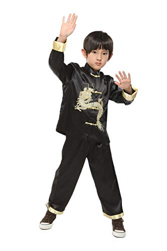 Suimiki Traditional Chinese Dragon Kung Fu Outfit Tang Suit for Boys Black 10