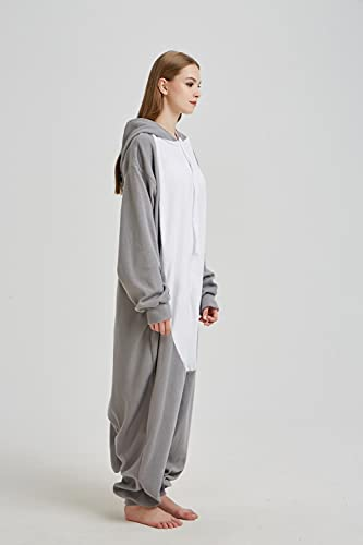 WEIYIing Onesies Adultos Lindos Caricatura Onesies Homewear Pareja Mujeres Hombres vellón Pijamas Animal Cosplay una Pieza Dormir Ropa de Dormir-L