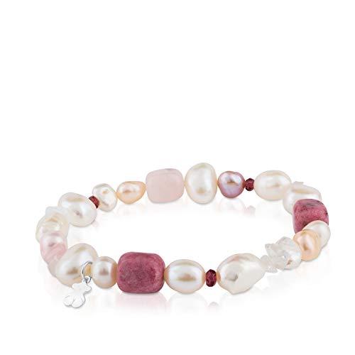 TOUS Pearls - Pulsera de Plata de Primera Ley, Perlas, Granates y Rodocrositas - 17,5 cm de Longitud