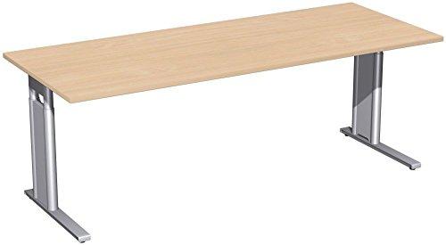 Schreibtisch höhenverstellbar, C Fuß Blende optional, 2000x800x680-820, Buche/Silber, Geramöbel