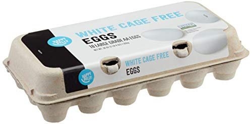 Amazon Brand - Happy Belly Cage Free Large White Eggs, Grade AA, 18 Count