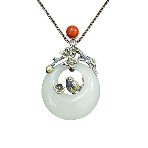 Anhänger Halskette 925 Silber Damen mit Jade - Chinesischer Vintage Schmuck 100% Handarbeit aus Hotan mit Echtheitszertifikat 107-LT101V2-65cm