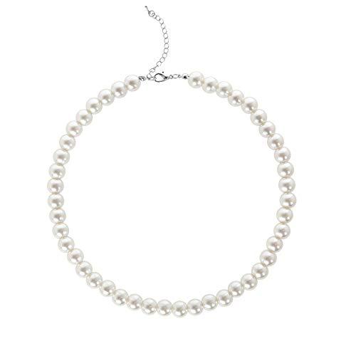 BABEYOND Damen Perlen Ketten Kurze Runde Imitation Perle Halskette Hochzeit Perlenkette für Bräute Weiß (Durchmesser der Perle 10mm)