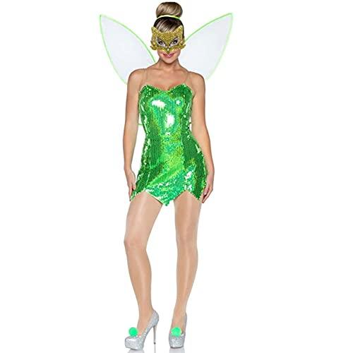 Disfraz de hada del bosque para mujer, vestido corto de princesa, disfraz de Halloween con alas, verde oscuro, L