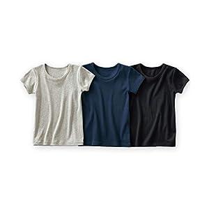 [nissen(ニッセン)] 下着・インナー 男児ベーシック半袖シャツ3枚組 杢グレー+紺+黒 150 キッズ 男の子