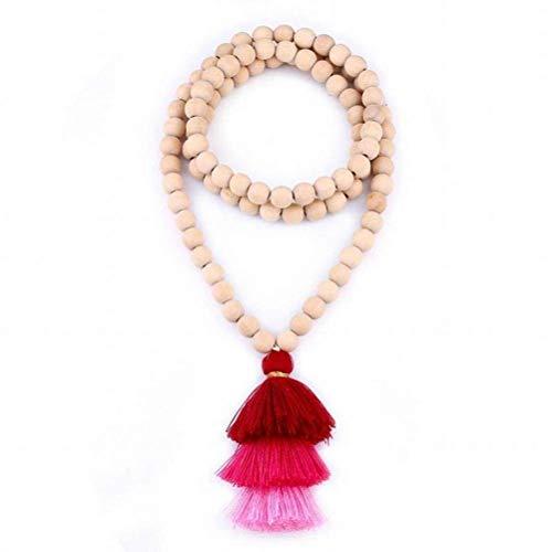 ACZZ Collar de cuentas de madera de moda Collar de cadena de suéter de borla larga gradiente Joyas hechas a mano, rojo, 89 cm de largo