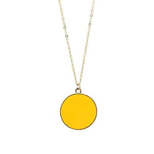 Lange Pulloverhalskette,Gold Senf Emaille Runde Scheibe Anhänger Mit Halskette Vergoldet Trendige Frauen Monogramm Halskette Accessoires Schmuck