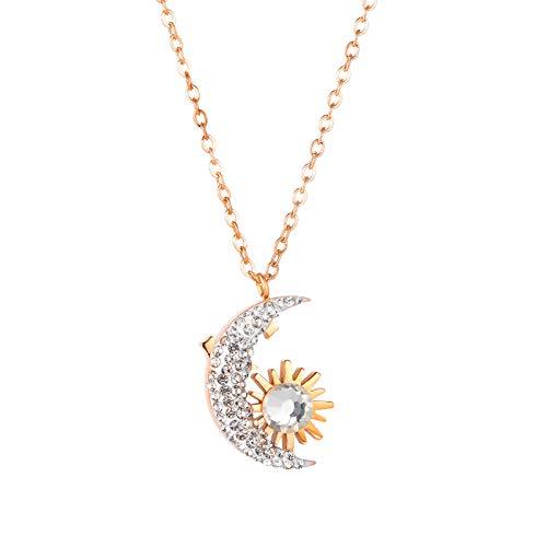 YOUNGE Collar de acero de titanio para mujer Diamond Moon & Golden Sun Pendant Fashion Jewelry Link Chain Gift for Girls