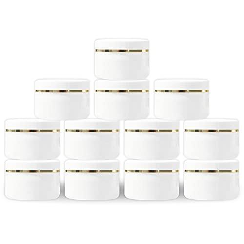 MYOC Tarro de plástico blanco con tapa de cúpula de 100 g (3.5 onzas) rellenable para maquillaje cosméticos tarros vacíos crema para la cara, (paquete de 3)