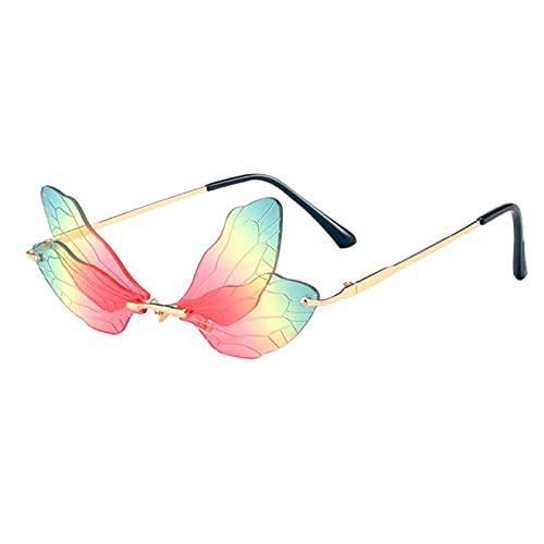 ATARSM Gafas de Sol para Mujer, sin Montura, con alas de libélula, Gafas de Sol para Mujer, Lentes Transparentes Vintage, Gafas de Sol Rosa y Amarillo Uv400