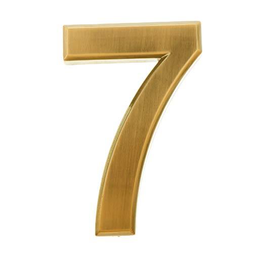 B Blesiya Plástico ABS Dorado Autoadhesivo 0-9 Números De Puerta Placa De Señal De Dirección De Casa - Número 7