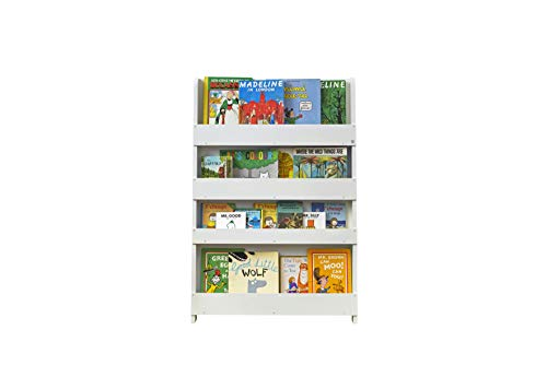 Tidy Books Childrens Bookshelf (Age 0- 10) Book Rack Storage for Kids, Wall Bookshelf, Front Facing Bookcase, 45.3 x 30.3 x 2.8 in, Wooden, White, Eco Friendly, Handmade, The Original Since 2004