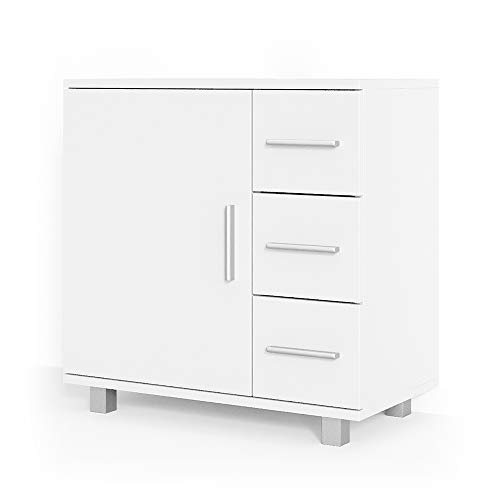 Vicco Waschtischunterschrank Ilias Badschrank Badezimmerschrank Waschbeckenunterschrank Unterstellschrank (Weiß, matt)