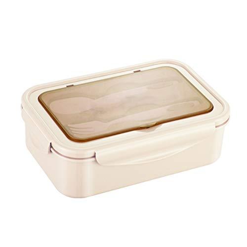 Caja de Almuerzo, Fiambreras para Niñas, Niños Bento Box 3 Compartimentos, Recipiente de Frutas para Alimentos a Prueba de Fugas con Cubiertos para Horno Microondas