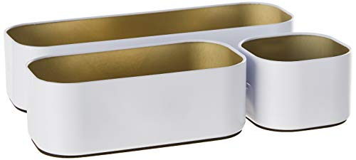 Three By Three Seattle Drawer Organizer Pack of 3, 2', Gold (52315)
