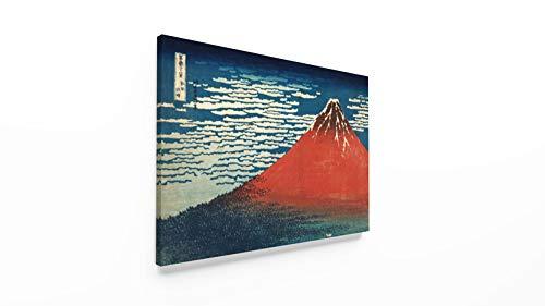 Panorama Lienzo Hokusai Volcán Rojo 70x50cm - Impreso en Lienzo Bastidor - Cuadros Decoración Salón - Cuadros Vintage - Cuadros Lienzos Decorativos - Cuadro en Lienzo