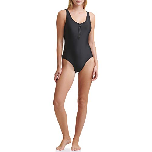 DKNY womens One Piece Swimsuit, Jet Black, 6 US