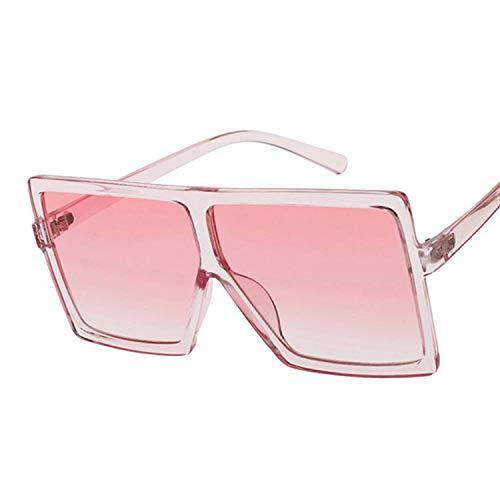 Sonnenbrille Flat Top Oversize Square Sonnenbrille Damen Mode Retro Gradient Sonnenbrille Leopard Big Frame Vintage Brille Uv400 Pink