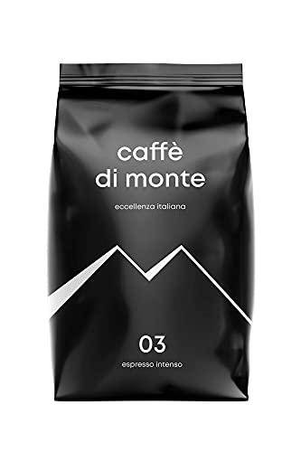 Caffè di Monte Espresso Intenso, 1kg, ganze Bohne, dunkle Röstung nach italienischer Art, schokoladig & nussig, säurearm, ideal für Kaffee aus Siebträger & Vollautomaten