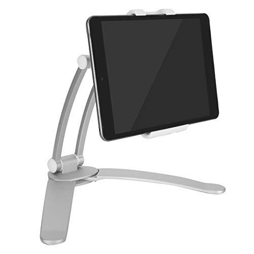 Soporte para tableta, cocina ajustable Soporte para tableta Escritorio de pared Soporte de montaje para tableta de aleación de aluminio con diseño de soporte único, para la mayoría de las tabletas