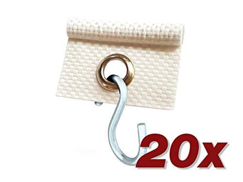 ANKO Planen 20 x Kederöse mit S-Haken für Kederschiene weiß/schwarz D=7,5 mm Camping Öse Kederband Vorzeltkeder (Weiß)