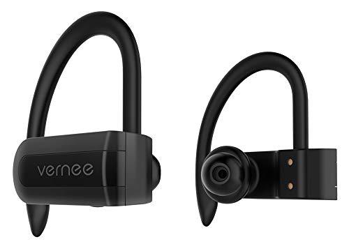 Vernee Auriculares Inalámbricos Deportivos Bluetooth 5.0 Audífonos Cascos Inalámbricos Sin Cable llamadas Manos Libres Reproducir Música Deporte Correr Aire Libre IPX5 Impermeable Antisudor Negro