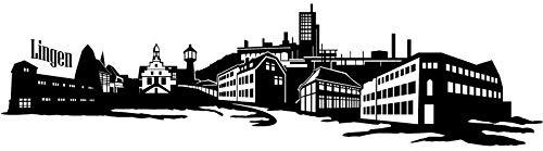 Wandtattoo Skyline Lingen XXL Text Stadt Wand Aufkleber Wandsticker Wandaufkleber Deko sticker Wohnzimmer Autoaufkleber 1M152, Skyline Größe:Länge 120cm