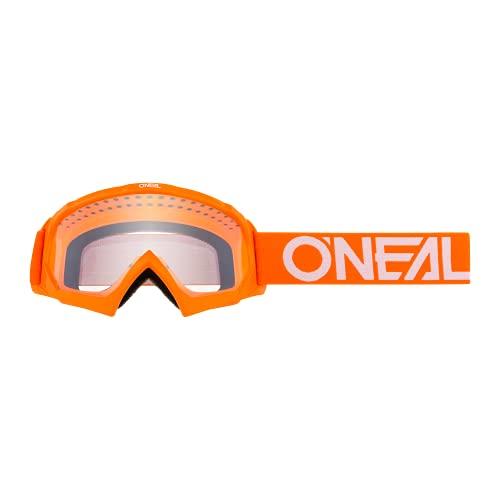 O'NEAL | Motocross Goggle Spares | Motorcycle Enduro | Design moderne de la monture, lentille de haute qualité 1,2 mm 3D, 100% protection UV | B10 Youth Goggle Solid | Orange White | One Size