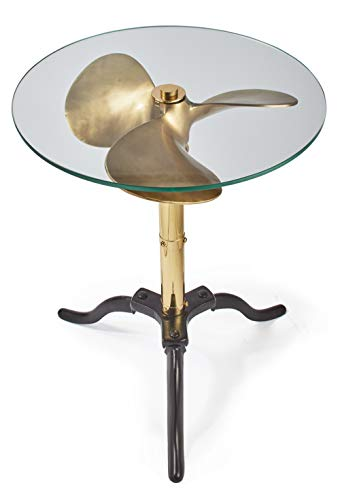 MY SWANKY HOME Vintage Style Gold Metal Ship Boat Propeller Side Table 22 in Round Glass Top