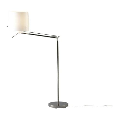 Ikea Samtid - Boden-/Leselampe, vernickelt, weiß
