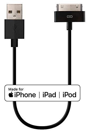 HomeSpot [Licencjonowany i certyfikowany Apple MFi] – 30 pinów na kabel USB, USB do 30-biegunowego złącza dokującego, kabel do ładowania, kabel Sync, kabel do transmisji danych do iPhone 4, iPhone 4S, iPad 1/2/3, iPod touch, iPod nano, stacja dokująca IPhone Docking Station, najwyższa jakość (czarny, 20 cm)