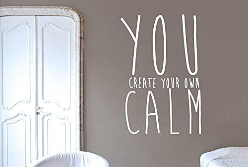 Promini Crea tu propia calma – Pegatinas de pared de vinilo de yeso de papel para casa de estudio, dormitorio, decoración de patrón simple sin sabor, extraíble personalizado 33 x 22 pulgadas