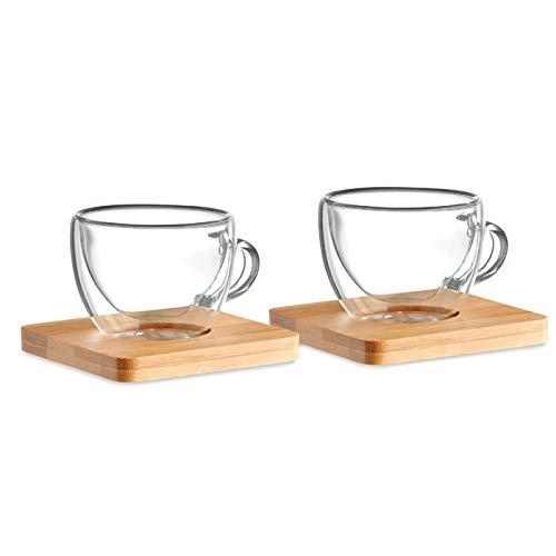 Publiclick Juego de 2 Tazas para café Espresso de Doble Pared con Pla
