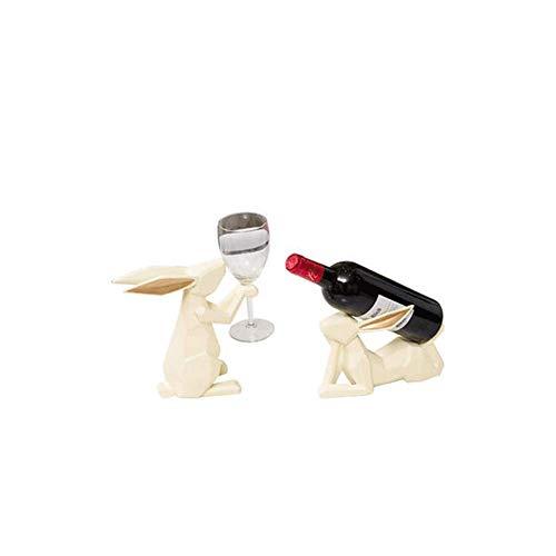 Mode Hars Wijnfles Rek Wijnrek, Wijn Rek Home Decoraties Geschenken Interieur Decoraties, Woonkamer Eettafel Koffie Tafel Wijnkast Decoraties Konijn Retro size Kleur: wit
