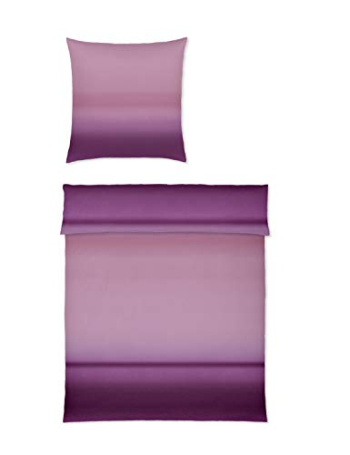Yes for bed Bettwäsche 100% feine Baumwolle Mako Satin Design Waterfall 7770 schöner Farbverlauf (01 Beere, 135x200 cm)