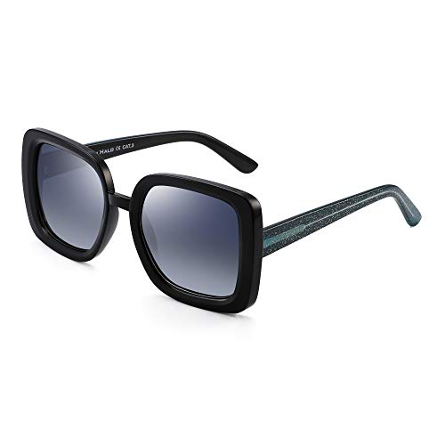 JIM HALO Diseñador Inspirado Oversized Gafas de Sol Mujer Polarizadas Cuadradas Sombras(Marco Negro/Lente Azul Gradiente Polarizado)