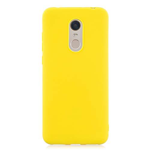 cuzz Funda para Xiaomi Redmi 5 Plus+{Protector de Pantalla de Vidrio Templado} Carcasa Silicona Suave Gel Rasguño y Resistente Teléfono Móvil Cover-Amarillo