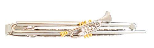magdalena r. Trompete Krawattennadel Krawattenklammer Grundklammer silbern + Trompete Bicolor ca. 6,7 cm lang inkl. Geschenkbox