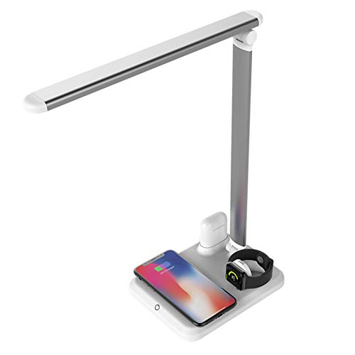 Raburt 4 In 1 LED Desk Lamp Fast Wireless Charger Adjustable Angle Charging Table Bedside Night Light