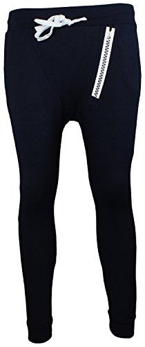 Alex Flittner Designs Damen Haremhose Hose Baggy Freizeithose Jogginghose Sporthose mit Reißverschlussprint in Navy Jersey Sweatpant | Größe M
