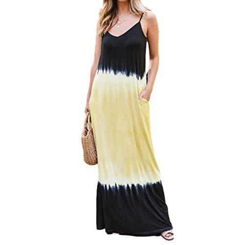 PIGMAMA Farbtonfarbe Ärmelloses Hosenträger Böhmisches Kleid Frauenkleider mit Taschen und charmant cool