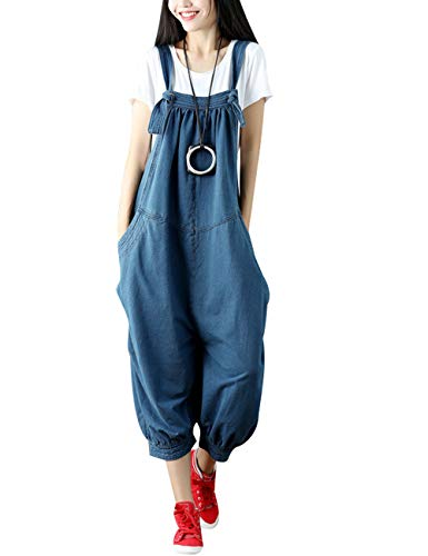 Youlee Damen Sommer Breites Bein Hose Denim Latzhose Overall Hosen Style 9 Blue