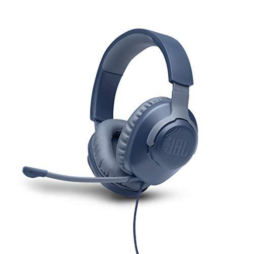 JBL Quantum 100 Over-Ear Gaming Headset – Wired 3,5 mm Klinke – Mit abnehmbarem Boom-Mikrofon – Kompatibel mit PC und Konsole – Blau