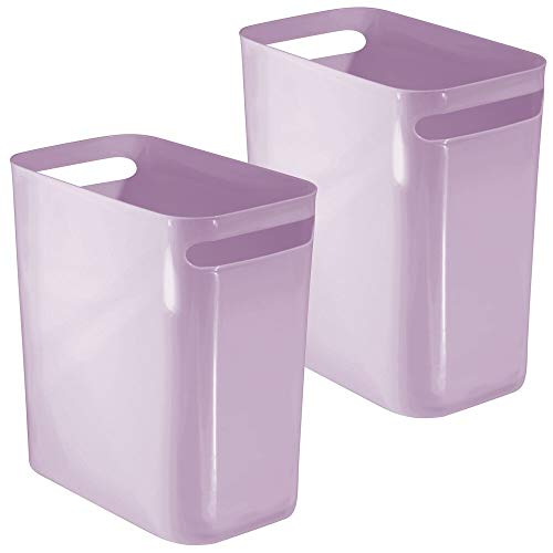 mDesign Slim Plastic Rectangular Large Trash Can Wastebasket, Garbage Container Bin, Handles for Bathroom, Kitchen, Home Office, Dorm, Kids Room - 12' High, Shatter-Resistant, 2 Pack - Light Purple