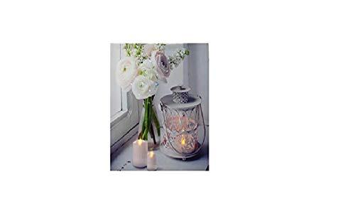 joka international GmbH LED Leinwandbild Traumblüte Rosen weiß und Kerzen 38x38x1,5cm 15096