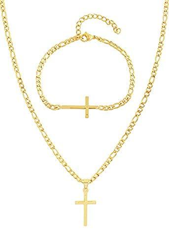 EDFORCE Halskette mit Kreuz-Anhänger aus Edelstahl für Damen und Herren, 50,8 cm, mit passendem Armband, 50,8 cm, Edelstahl, Goldkreuz, 74-D0S4-FGI4